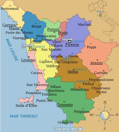 toscana karte Italien Karte Regionen Toskana | Kleve Landkarte